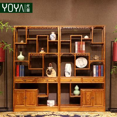 博古架实木中式仿古榆木置物架书架多宝阁古董架隔断客厅间厅柜