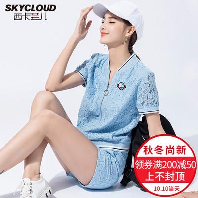 洋气短裤套装女显瘦2018新款时髦蕾丝网红运动休闲时尚女神两件夏