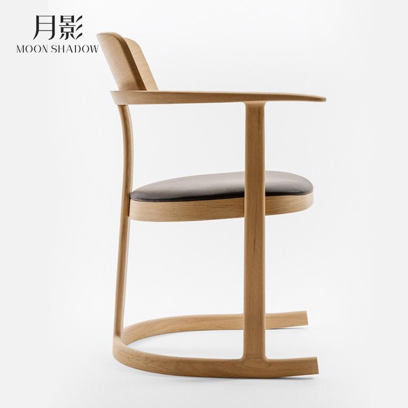 美式现代简约实木书椅北欧餐厅酒店软皮休闲椅日式办公电脑椅餐椅