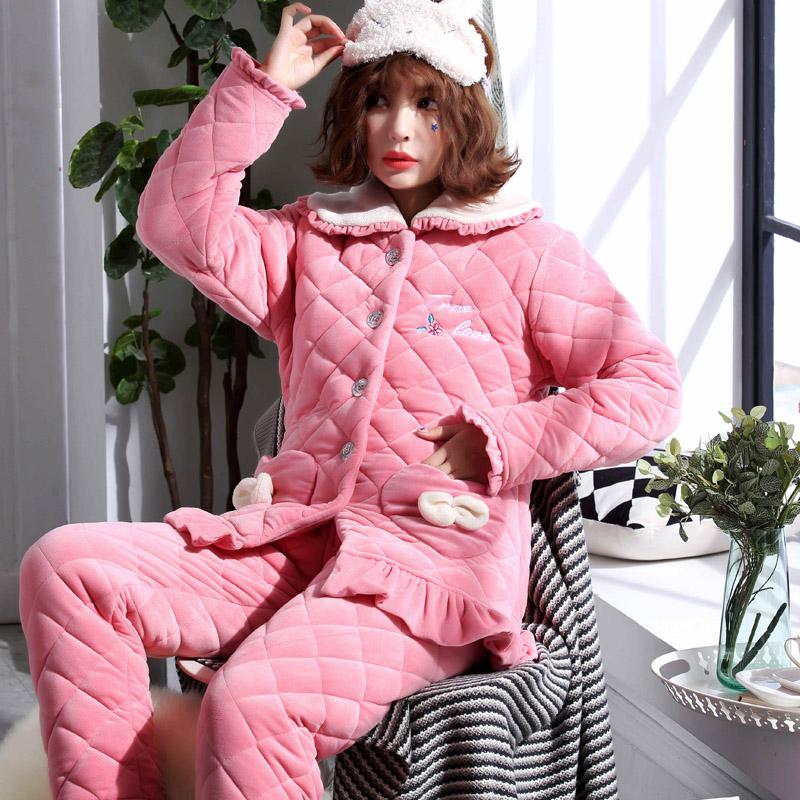 睡衣女士秋冬季夹棉三层加厚珊瑚绒法兰绒韩版甜美可爱保暖家居服