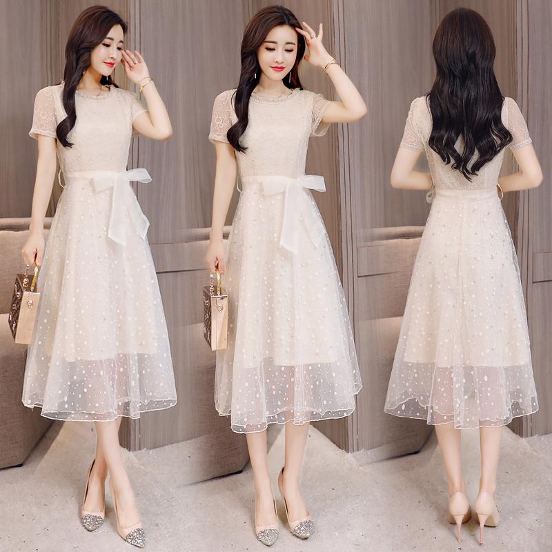 蕾丝连衣裙女春夏季2018新款韩版中长款气质收腰修身显瘦网纱裙子