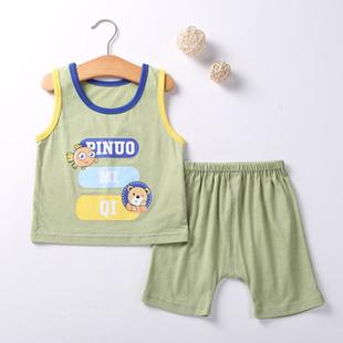 婴儿绿色背心纯棉夏季宝宝衣服无袖套装男童女童吊带儿童打底夏装