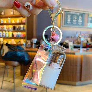 漂浮牛奶猪钥匙扣挂件