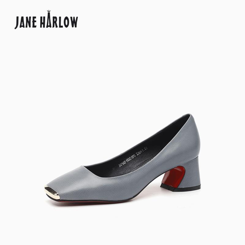 JANEHARLOW杰雷哈洛2018秋新款单鞋十字胎牛皮方头经典粗跟女跟鞋