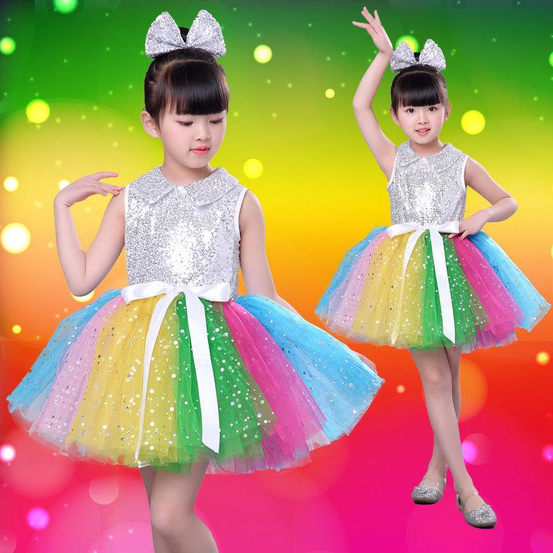 Children's performance dress New Year's Princess dress chorus kindergarten sequins performance dress