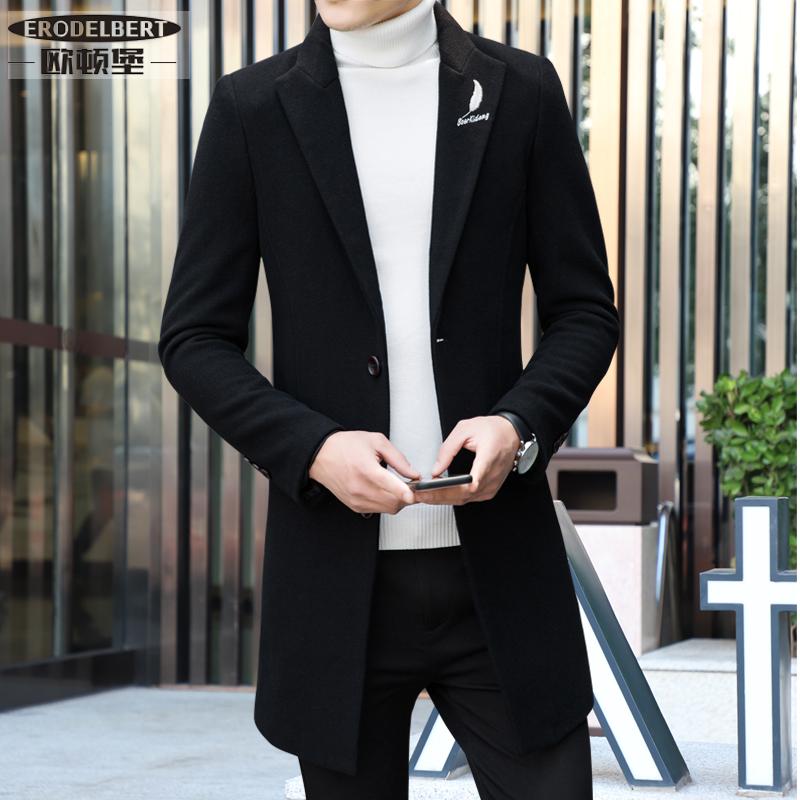 秋冬季韩版修身毛呢大衣男中长款2018新款男士羊毛呢子风衣男外套