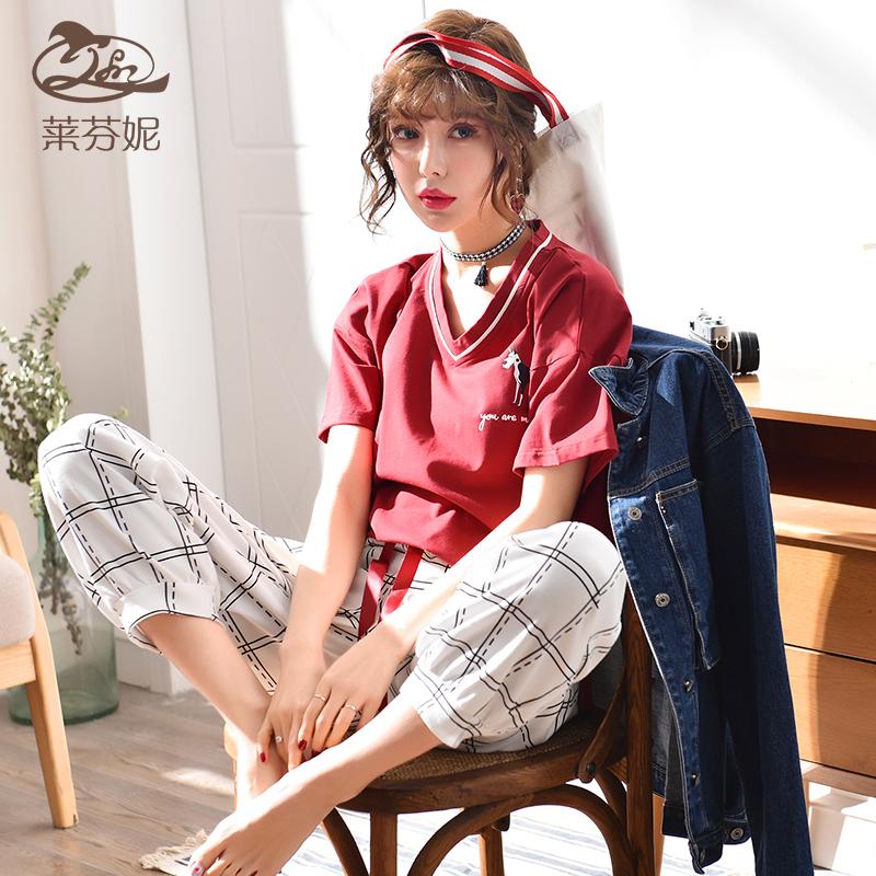莱芬妮纯棉睡衣女士夏季短袖韩版宽松印花可外穿家居服两件套套装