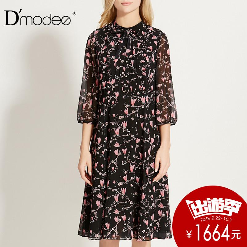 dmodes黛玛诗2018春季新款针织印花收腰散摆灯笼袖小立领连衣裙