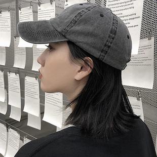 黑色帽子女鸭舌帽软顶韩版百搭水洗纯色棒球帽休闲男士日系潮夏季