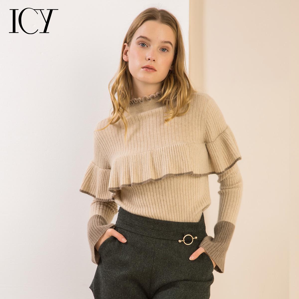 icy荷叶边纯羊绒衫女 修身喇叭袖针织衫秋冬羊毛衫毛衣女