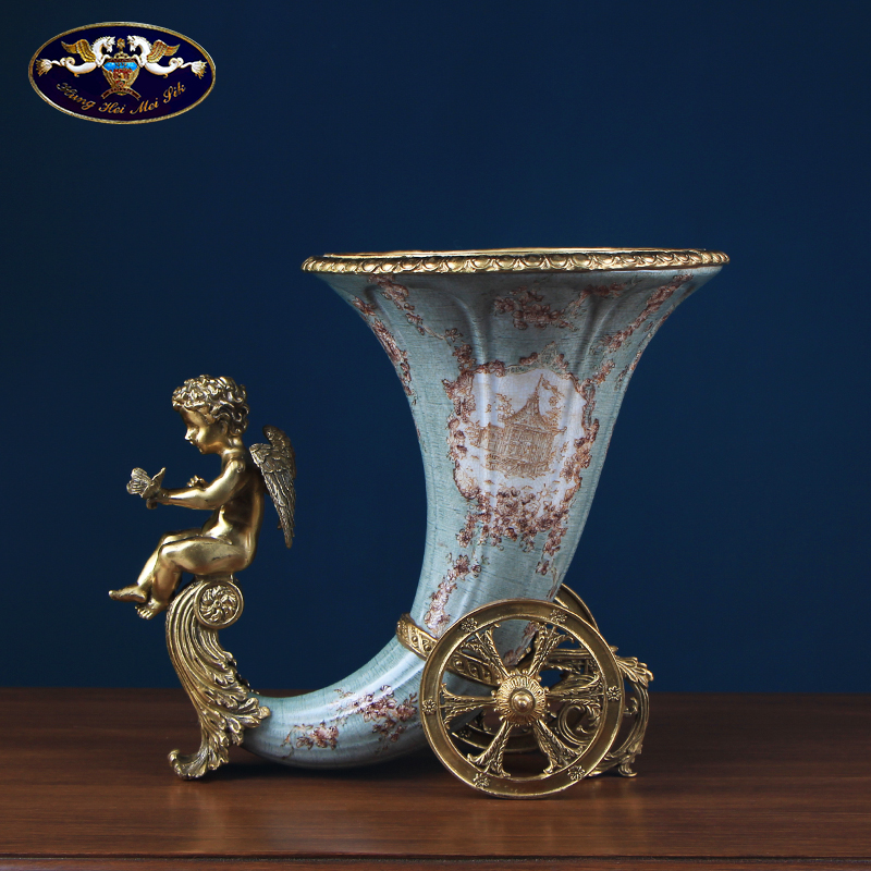 European creative ceramics with copper vase sitting room porch decoration key-2 luxury villa example room dry flower adornment furnishing articles