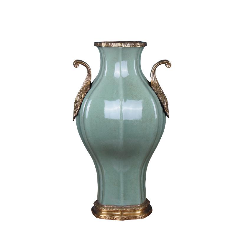 Europe type restoring ancient ways ceramics with copper vase American creative dry flower receptacle porch desktop ornaments home furnishing articles