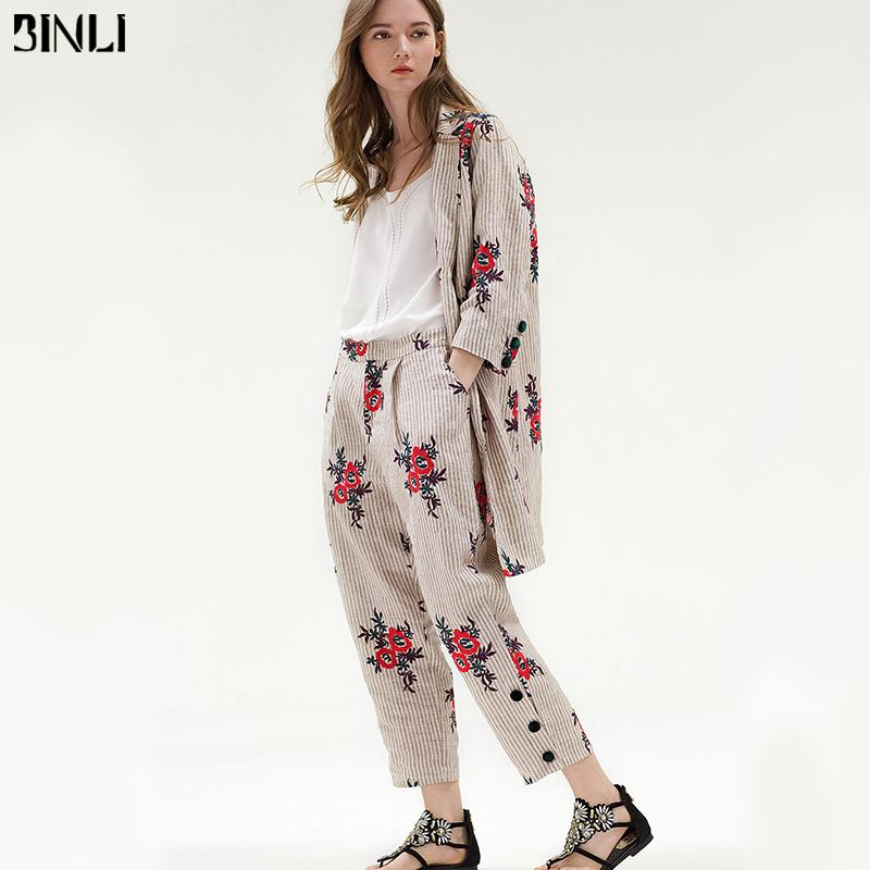 2018秋新款女装欧美刺绣宽松时尚套装亚麻小西装条纹阔腿裤两件套