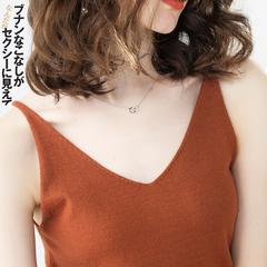 春季新品针织v领小吊带无袖上衣性感背心女夏外穿短款内搭打底衫
