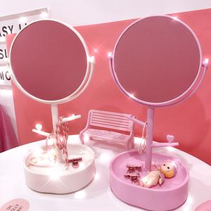 日系原宿风补妆镜化妆镜圆形学生台式公主镜桌面饰品收纳梳妆镜子