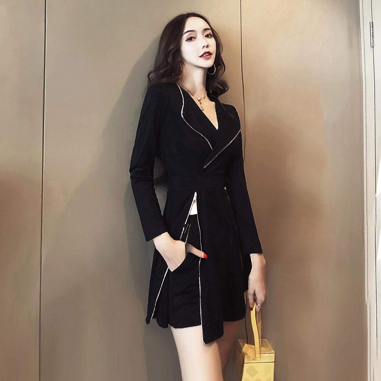 秋季女名媛小香风chic港味社会女网红蹦迪套装两件套帅气精神女装