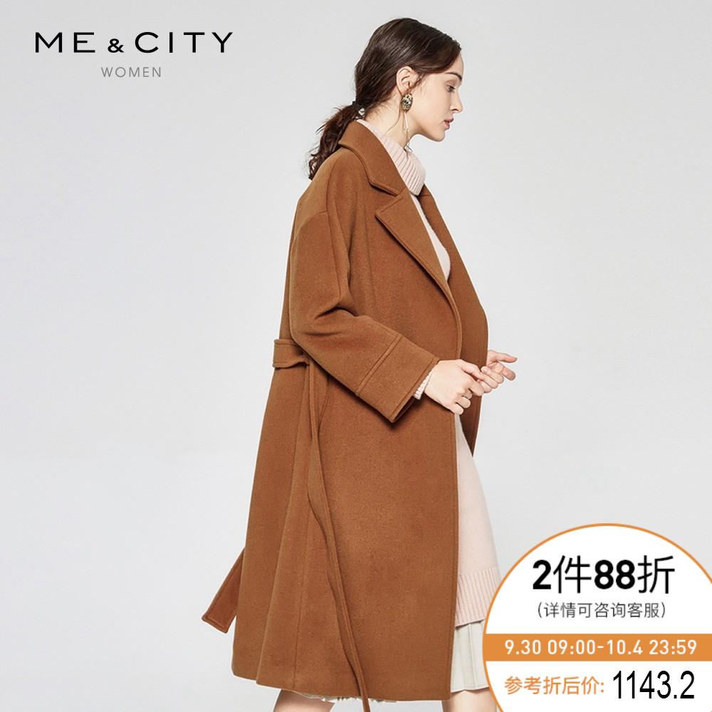 折|MECITY女装秋冬气质优雅港风羊毛系带修身中长款大衣
