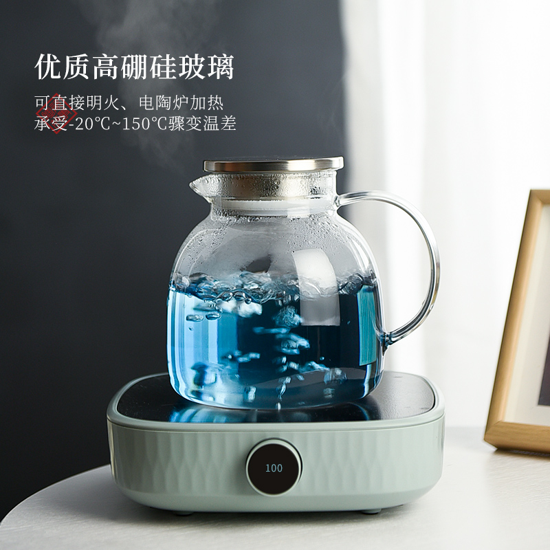 Cold water bottle glass ceramic story thickening heat large capacity pot of Nordic home Cold boiled water kettle cup suit