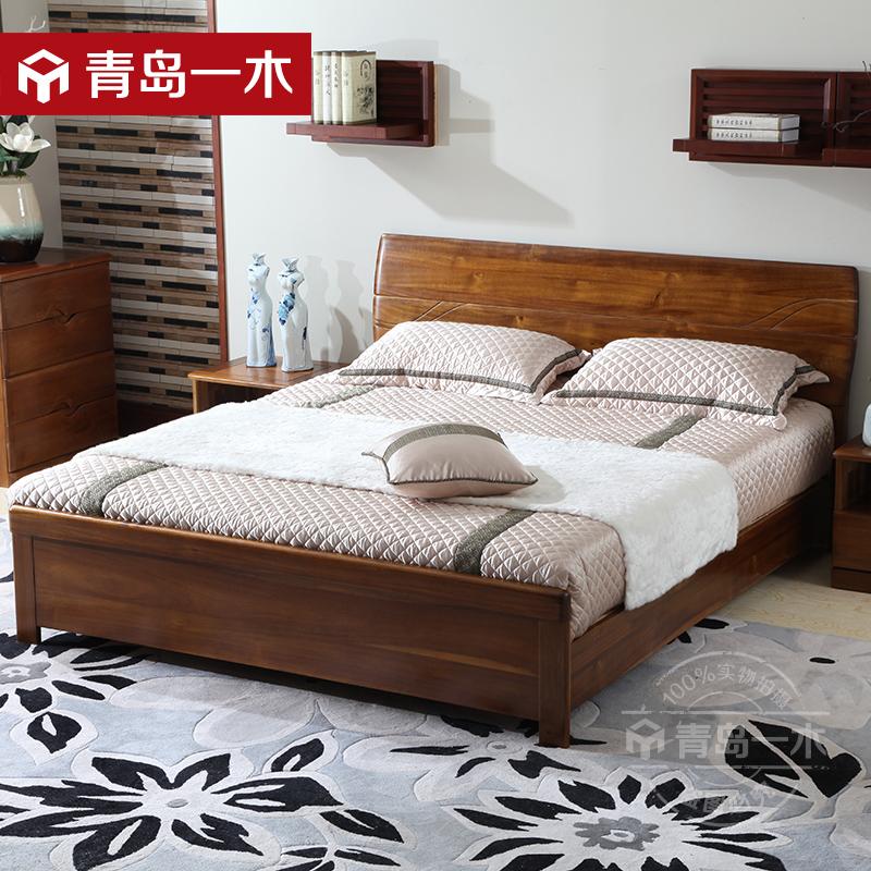 青岛一木全实木床1.8米 胡桃木床1.5现代中式双人床 高箱体储物床