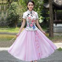 2018新款少女装短旗袍唐装长款日常修身改良小香风两件套连衣裙女