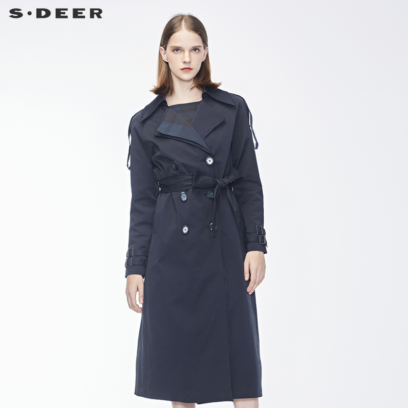 sdeer圣迪奥2018秋装新款优雅双排扣翻领腰带肩袢风衣女S18381826