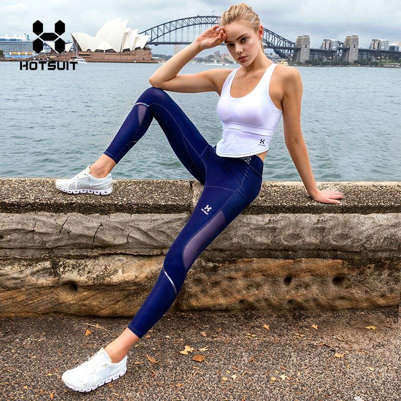 美国HOTSUIT紧身裤女2018新款瑜伽裤塑形紧身健身裤外穿运动裤