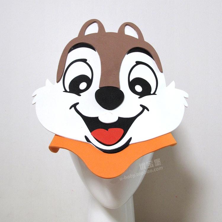 新款小松鼠帽子 eva立体帽 卡通动物头饰 幼儿园儿童舞蹈表演道具图片
