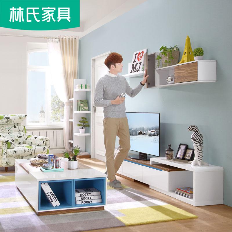北欧可伸缩电视柜背景墙现代小户型客厅储物影视柜挂柜组合BI5M