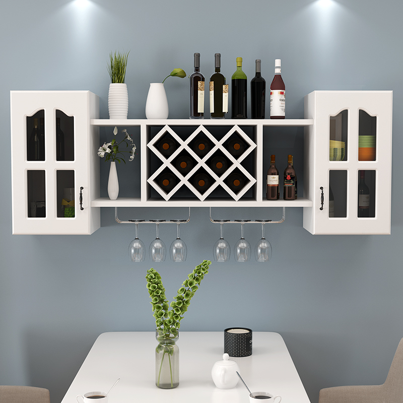 Wine Rack Creative Wall Rack Wine Cabinet Wall Hanging Simple Living Room Hanging  Cabinet Diamond Wine Lattice Wall Decoration