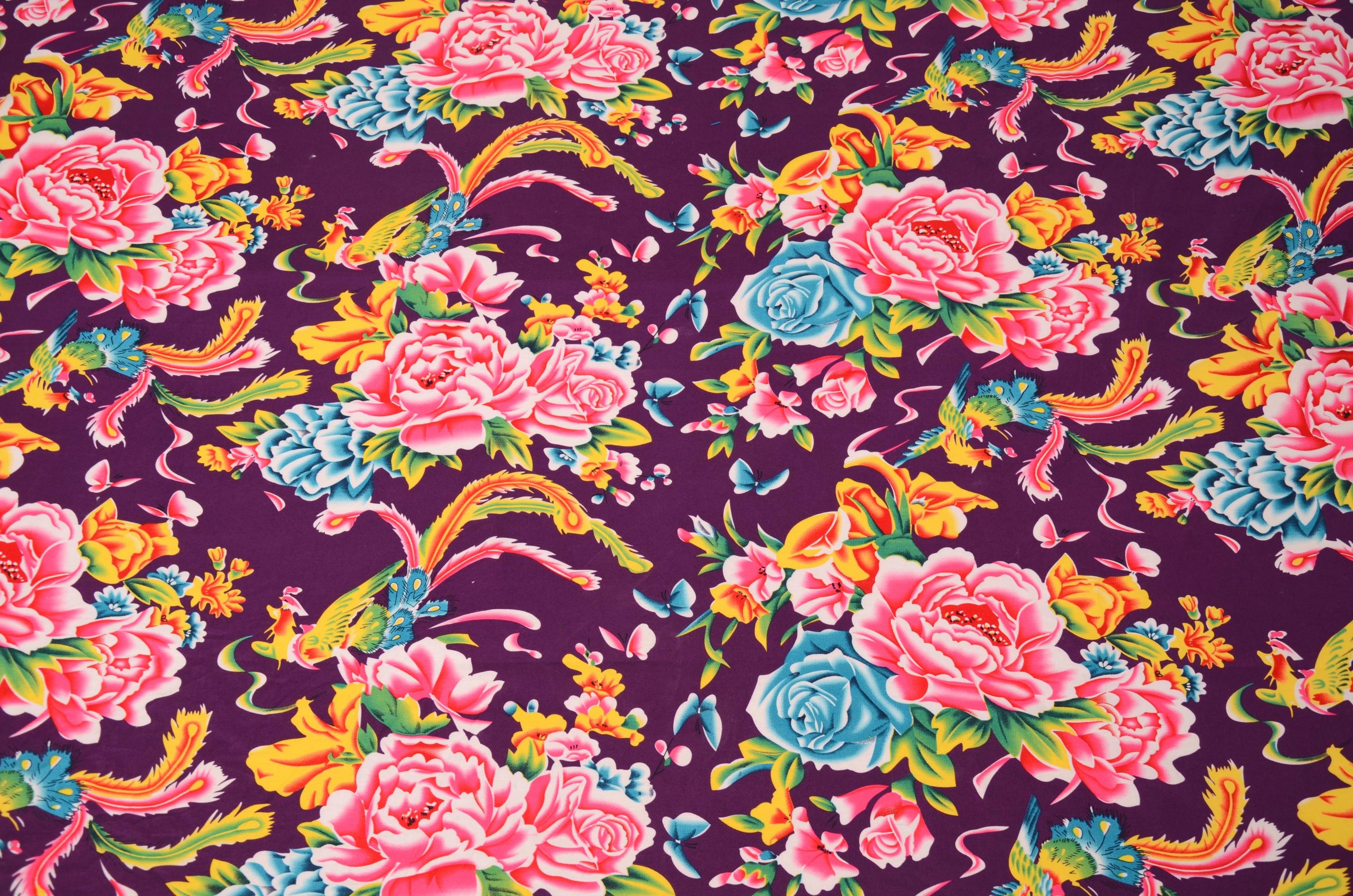 东北大花布壁纸_三色怀旧纯棉东北大花布被面棉布布料凤穿牡丹印花面料-经典色