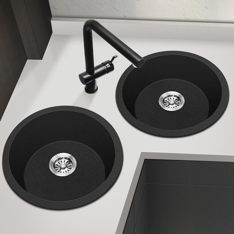 科恩纳石英石圆形水槽小单槽台上厨房洗菜盆花岗岩洗碗池加厚水池
