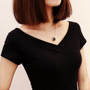 夏新品低领短袖t恤女修身纯棉双V领紧身前后大领打底衫露背上衣