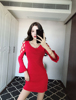 Real Shot Sexy Anchor Round Neck Strapless Straps Trumpet Sleeve Knit Dress