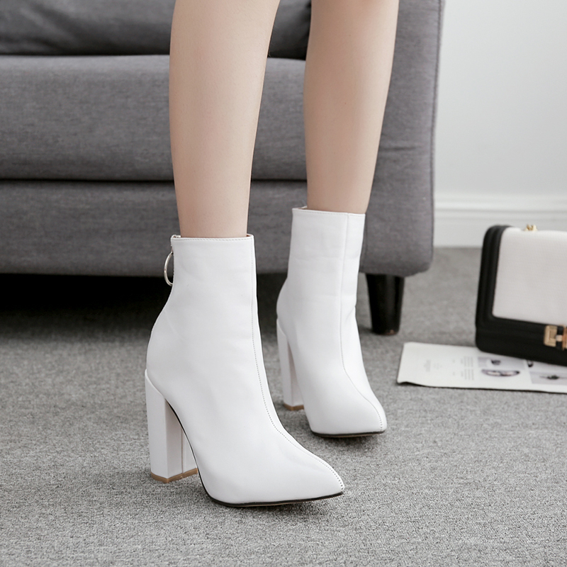 2018 Metal Ring Women Ankle Boots Pointed Toe Martin Boots A...