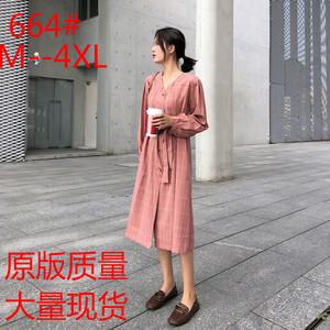 法国连衣裙衬衫复古收腰秋冬超仙少女过膝配大衣的长裙子