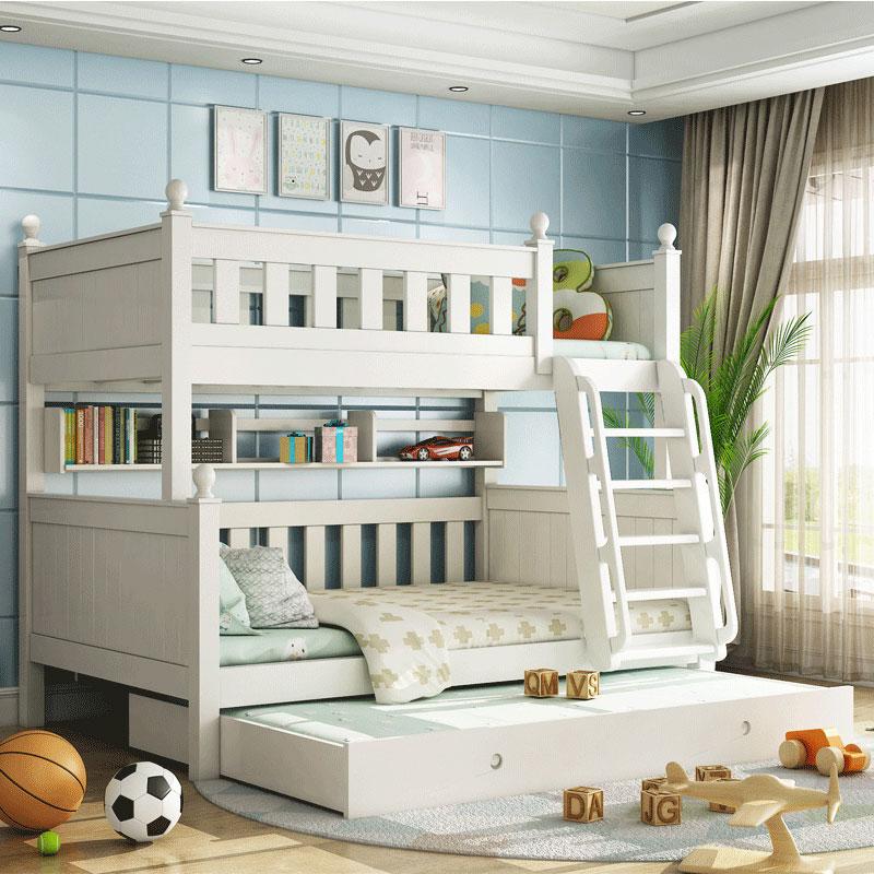 木匠大师 全实木上下床双层床女孩白色高低床韩式纯白儿童子母床