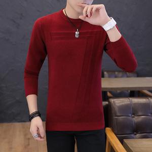 冬季新款男圆领针织衫韩版休闲打底衫长袖男士毛衣纯色修身毛线衫