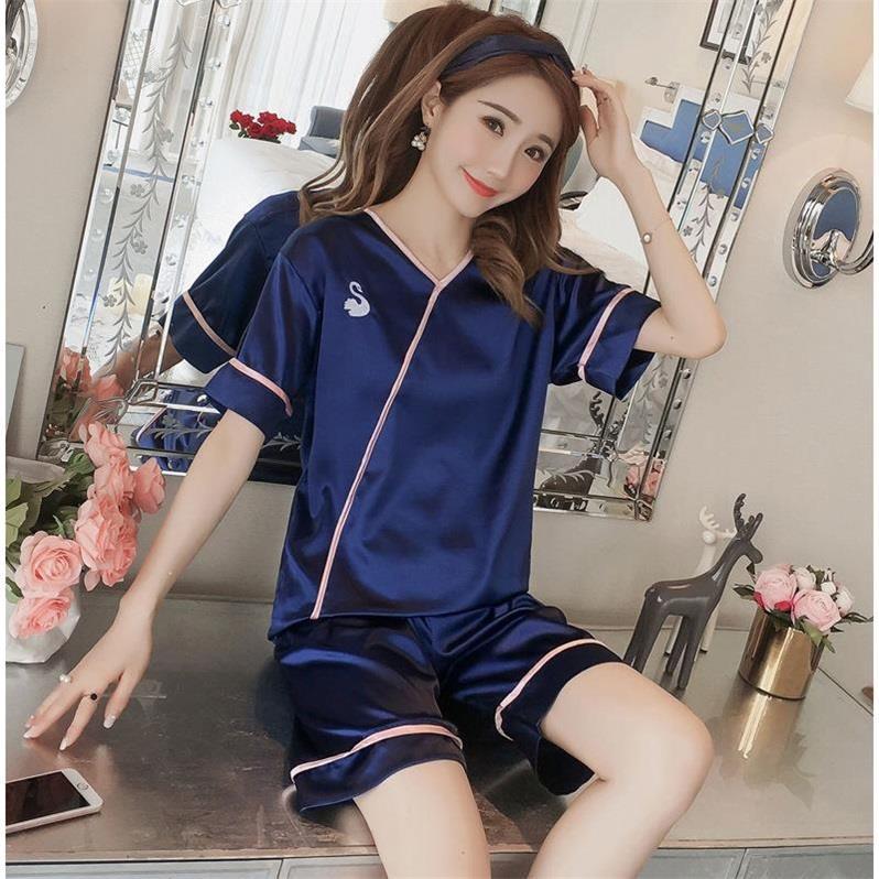 新品韩版丝质睡衣女夏天性感短袖短裤开衫夏季学生薄款服两件套装-给呗网