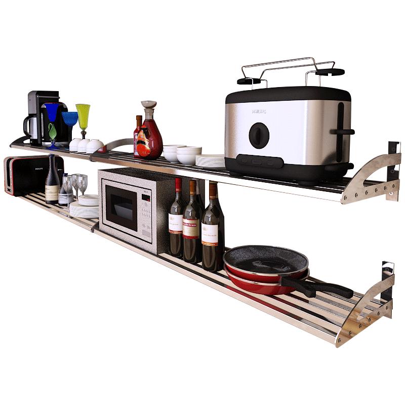 304不锈钢厨房置物架壁挂式墙上微波炉烤箱收纳储物多功能省空间