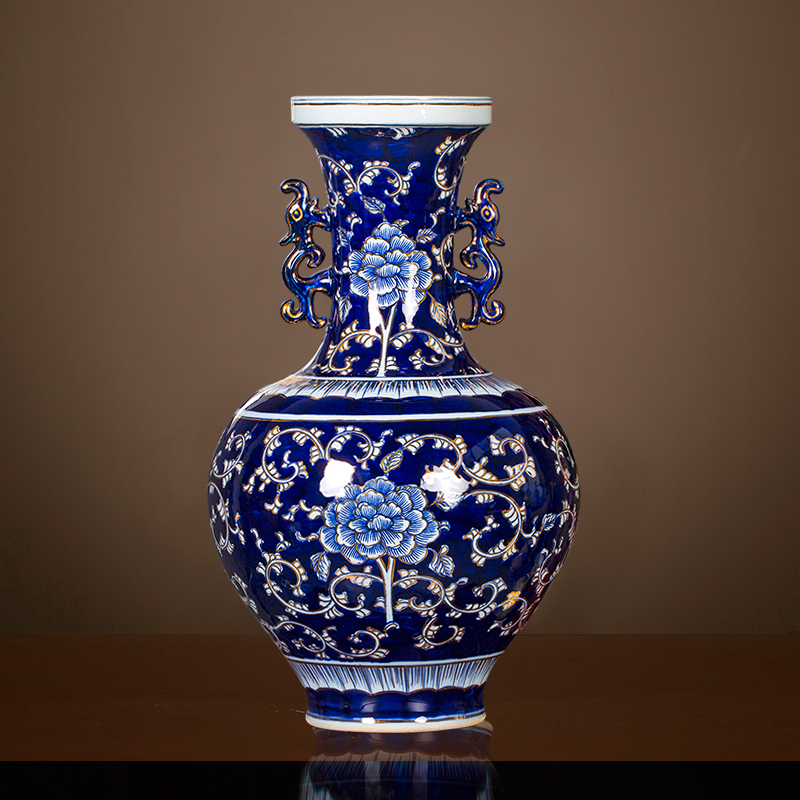 景德镇陶瓷器名家大师手绘描金仿古青花花瓶中式客厅装饰摆件大号