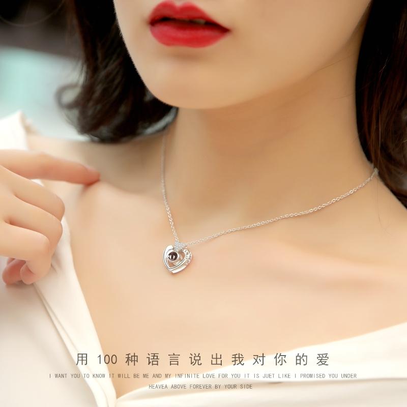 爱的记忆纯银项链女锁骨链简约玫瑰金吊坠情人节生日礼物送女友