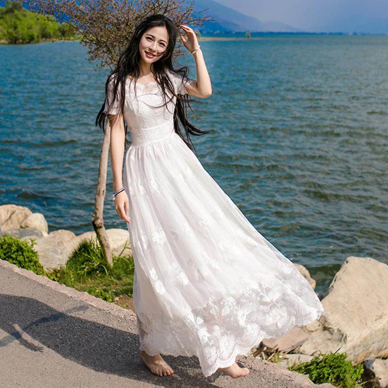 飘逸白色仙女巴厘岛超仙少女长裙女夏2018新款海边度假裙子沙滩裙