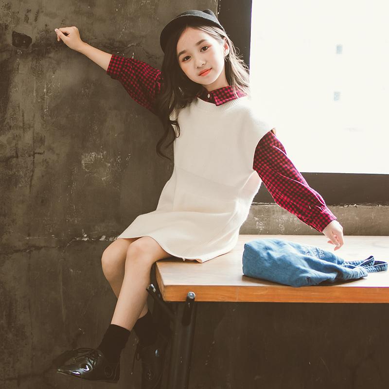 中大女童裙子两件套秋装套装2018新款韩版童装潮衣女洋气时尚时髦