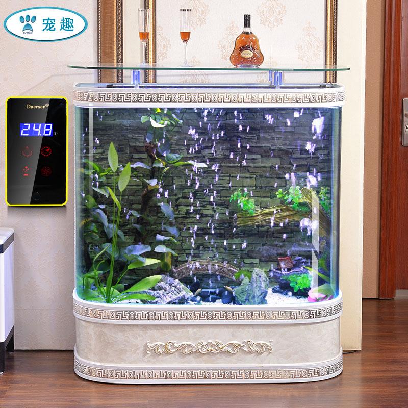 欧式双圆形生态金鱼缸60玻璃80中大型落地1.2米家用客厅水族箱