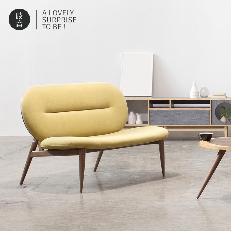 ziinlife吱音神马双人布艺沙发实木框架北欧风咖啡厅创意沙发椅
