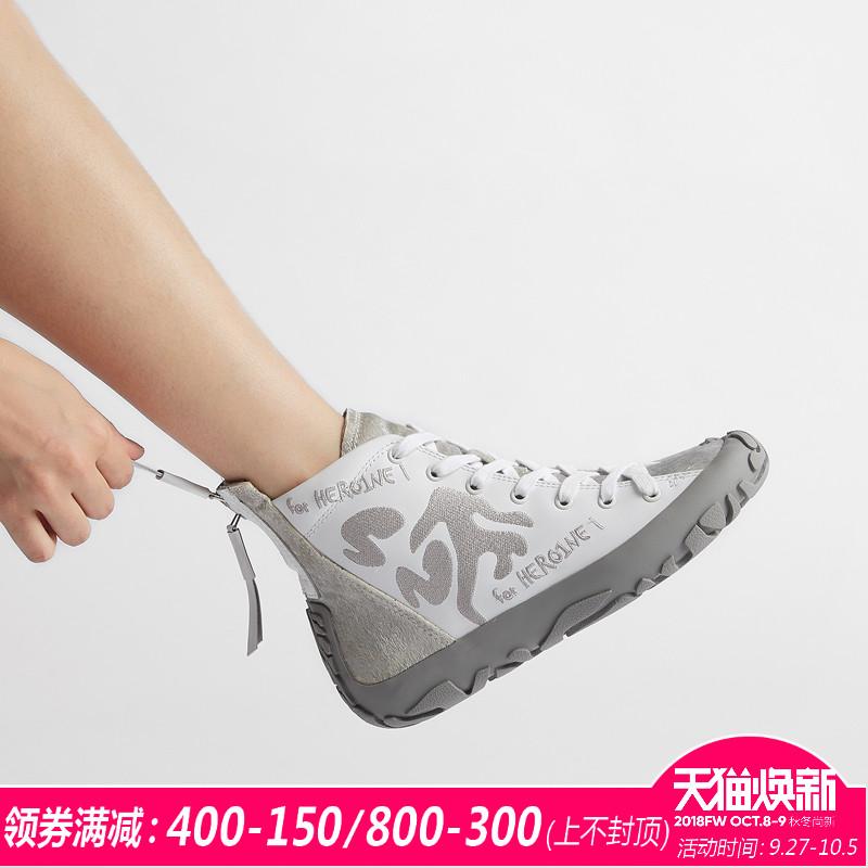WIJI高帮鞋女秋冬季新款时尚休闲女鞋街舞马丁靴平底短靴单鞋子潮