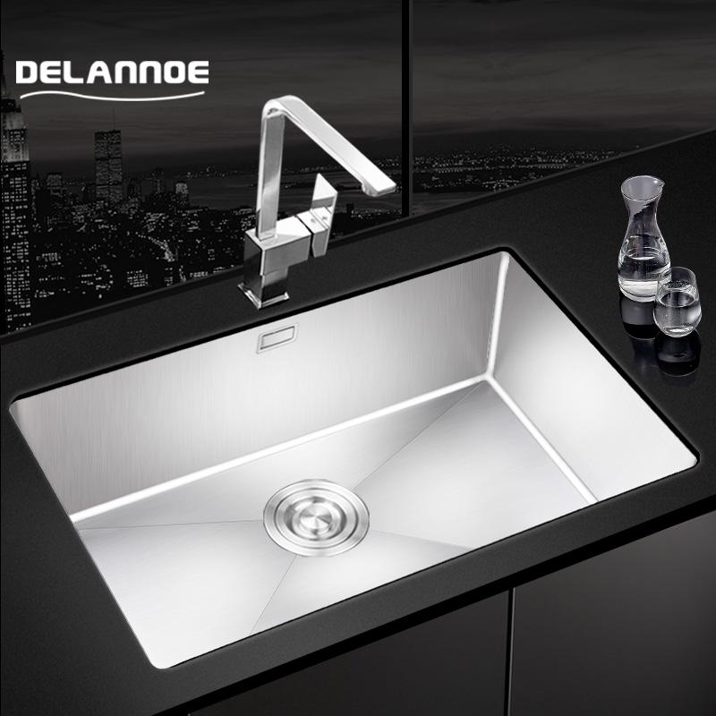 德莱诺304不锈钢厨房手工水槽小单槽台下盆洗菜盆洗碗池水池水盆