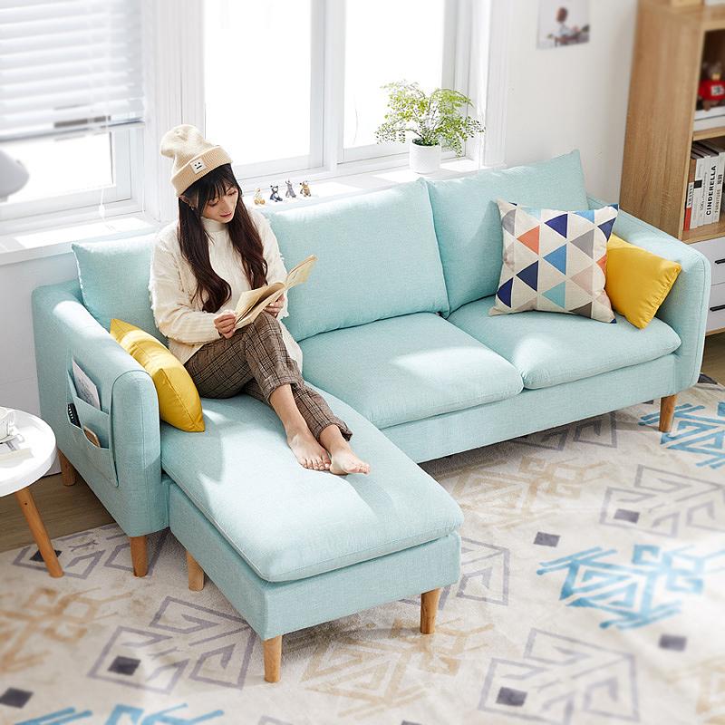 布艺沙发小户型简易沙发简约现代三人省空间经济型客厅出租房沙发