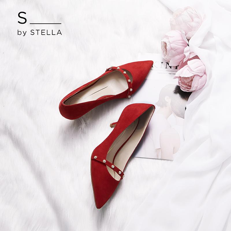 小S女鞋S by STELLA2018秋季新品珍珠红色羊皮尖头小猫跟