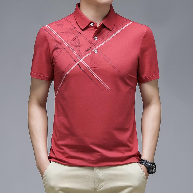 典予夏季新款翻领冰丝男士polo衫半袖T恤印花百搭丝光棉潮流体恤